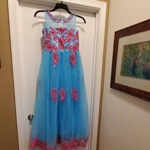 Pink/Robin egg blue formal dress